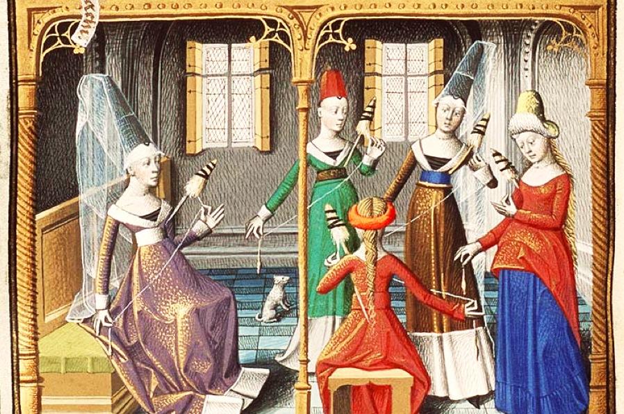 AAR PERISNO - Página 2 Medieval-women-sewing-yarn